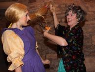 Evil Stepmother cutting Rapunzel's hair